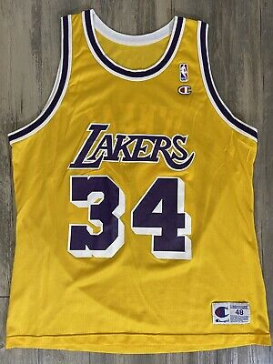 Shaquille O'Neal Shaq NBA Los Angeles Lakers #34 Champion Jersey Size 48 XL   eBay