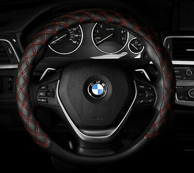 """M Steering Wheel Cover Black Red New PU Leather Line Fit 14.5/"""" 15.5/"""""""