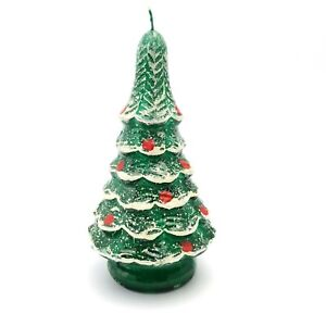 Vintage-Candle-Snow-Covered-Christmas-Tree-Decorative-Leadless-Wick