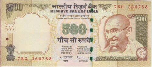 AU India Banknote P99e 500 Rupees 2010 inset L Light center fold