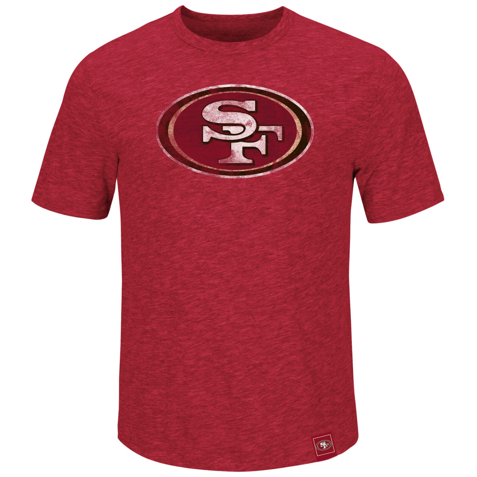 NFL FOOTBALL T-SHIRT SAN FRANCISCO 49ers LOGO HYPER Slub di MAJESTIC