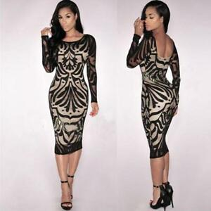 Lady-Women-Bodycon-Bandage-Evening-Cocktail-Party-Long-Sleeve-Lace-Pencil-Dress