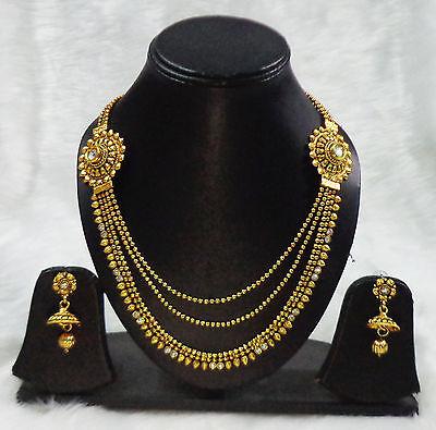 Gold Tone Rani Haar India Erhnic Bridal Necklace Earring Set Traditional Jewelry