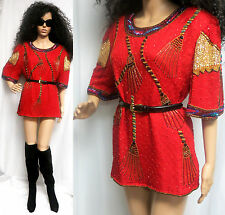 VTG 80'S RED SILK SEQUIN BEADED HOLIDAY TROPHY COCKTAIL TOP MINI DRESS S/M/L