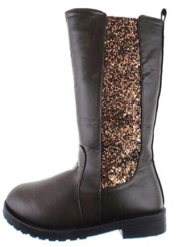 Girls BROWN Glitter Country Riding Long Boots Size UK 11 EU 29 UK 4 EU 37