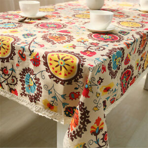 Details About Bohemia Floral Tablecloth Rectangle Tea Table Cloth Cotton  Linen Table Cover