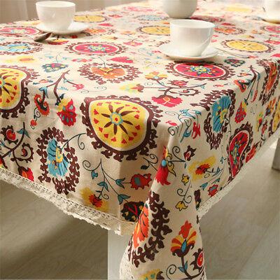 Bohemia Floral Tablecloth Rectangle Tea Table Cloth Cotton Linen Table  Cover | EBay