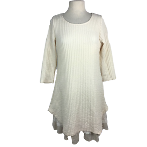Reborn Womens L Layered Look Knit Dress Relax Lace Ruffle Texture 3/4 Sleeve NEW