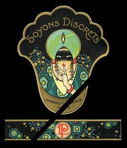 Antique-French-Perfume-Bottle-Label-1920-039-s-Lorenzy-Palanca-Paris-Soyons-Discrets