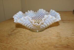 Vintage-Fenton-Opalescent-Hobnail-Ruffled-Bowl-9-034-Diameter