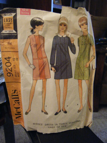 Vintage McCall's 9204 Misses Dress in 3 Versions - Size 12 Bust 34