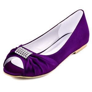 0b01d59fc5ef EP2053 Purple Peep Toe Ballet Flats Rhinestone Ruched Satin Wedding ...