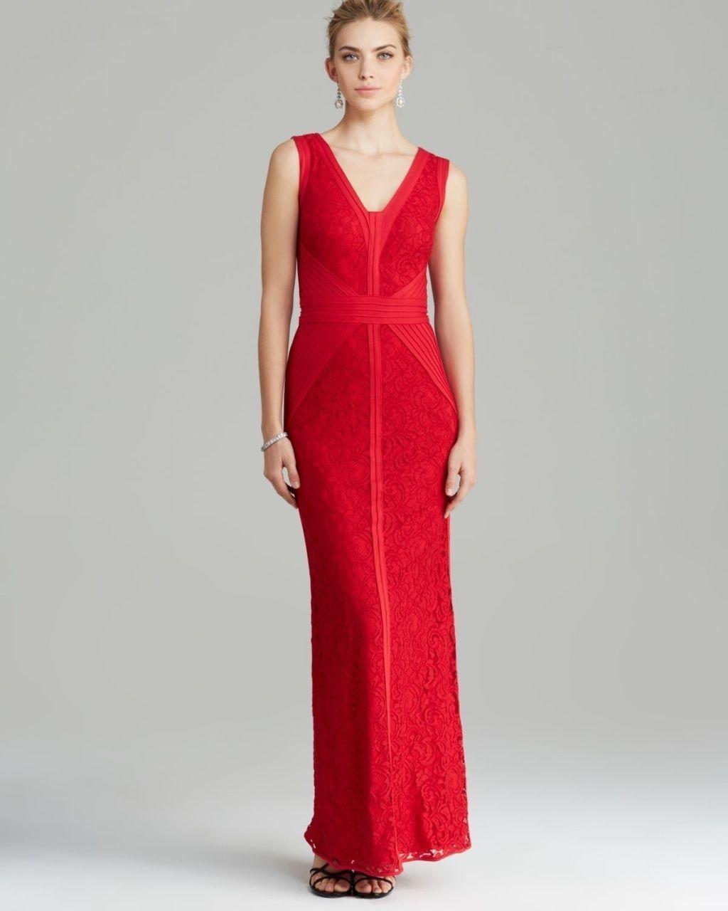 NWT TADASHI SHOJI GORGEOUS WOMENS MAXI GOWN LACE DRESS RED SZ 8  388