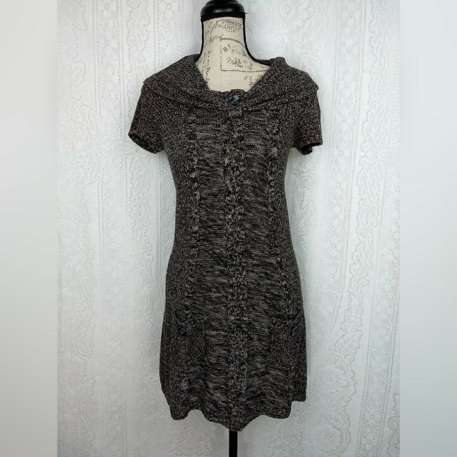 Style Co Sweater Dress Size Small Brown Tan Marble Cable Knit Short Sleeve