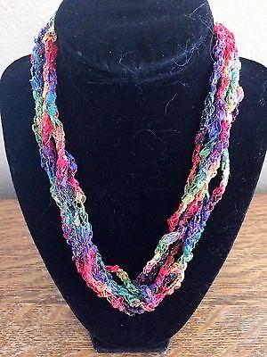 Handmade Crocheted Adjustable Ladder Ribbon Necklace Rainbow Twinkle