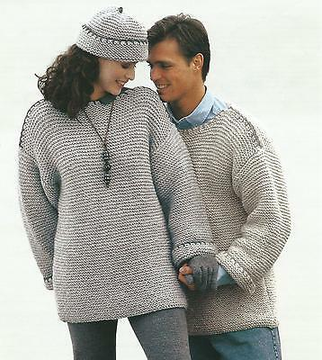 """Ladies Mens Knitting Pattern Chunky Sweater Hat. Easy Knit 28-44""""  212"""