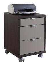 Cassettiera ufficio 3 cassetti e ruote wengè laccato grigio CT0764 L45h62.20p45