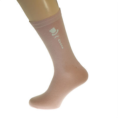 Pale Pastel Pink Coloured Wedding Mens Socks Top Hat and Moustache Design X6N252
