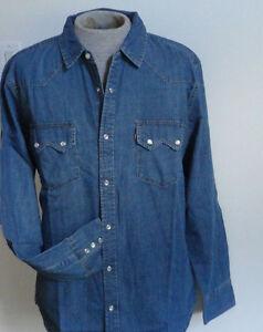 Men-039-s-Levi-039-s-Western-Denim-Shirt-Pearl-Snaps-Sawtooth-Cotton-NWT-Size-2XL-XXL