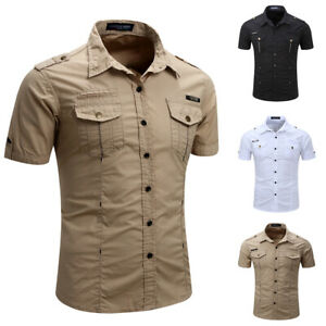 Mens-Tactical-Cargo-Work-Shirt-Military-Casual-Slim-Fit-Short-Sleeve-Shirts-Tops