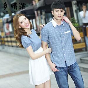Lovers summer new Korean short-sleeved men shirt couple ...
