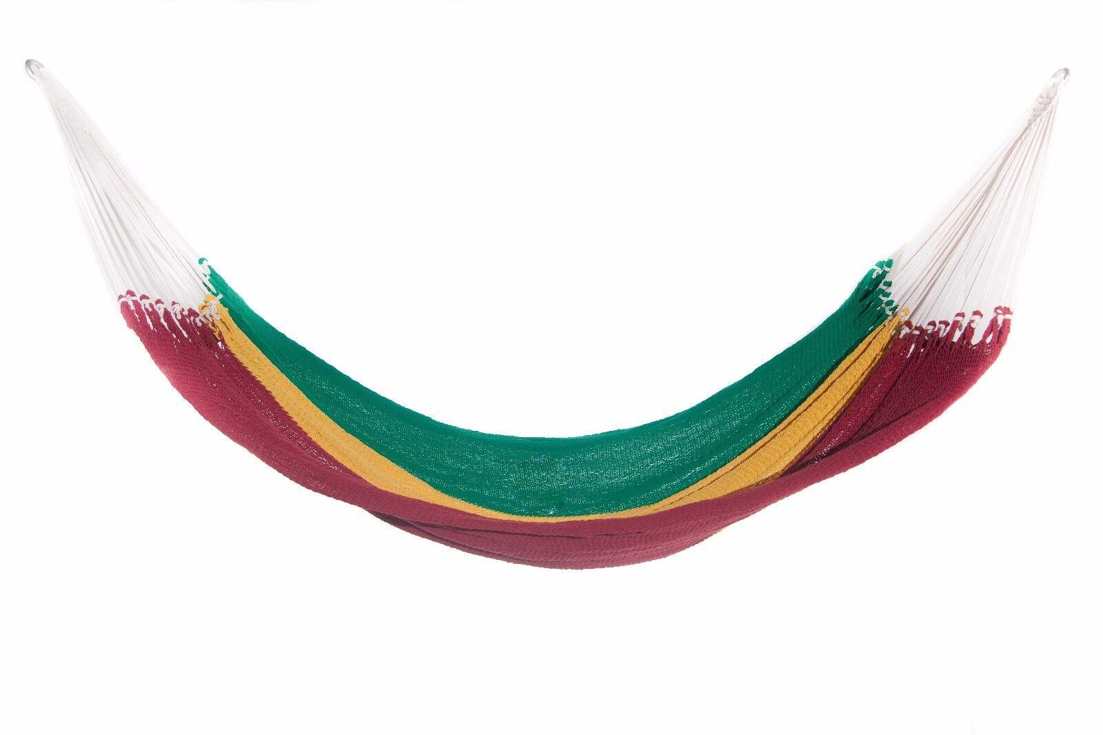 Nuevo Algodón Orgánico hecho a mano Tucán Hamaca sola persona Cama Reggae Jamaican