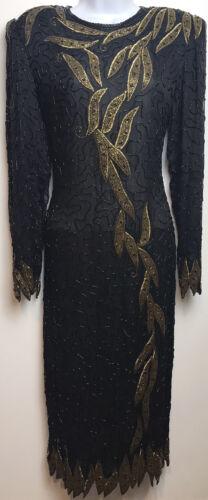 JEWEL QUEEN Dress Beaded Silk Black Gold Cocktail