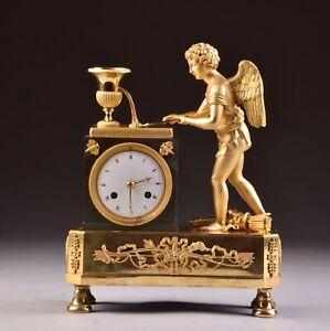 Impressive-rare-bronze-Empire-fire-gilt-Cupid-Mantel-Clock-France-circa-1810