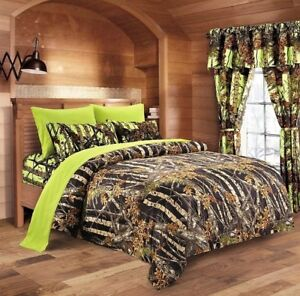Lime Camo Sheet Set Queen Size Bedding 6 Pc Camouflage Light
