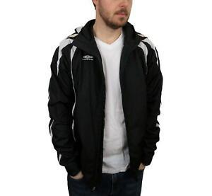 Umbro-Rain-Track-Jacket-Mens-Sz-Small-Black-White-Coat-Windbreaker-Hooded-Soccer