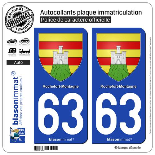 2 Autocollants Plaque Immatriculation Auto : 63 Rochefort-montagne - Armoiries