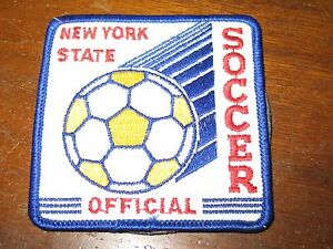 "Vintage New York State Soccer Official 3"" Square Referee Patch & Black Whistle"