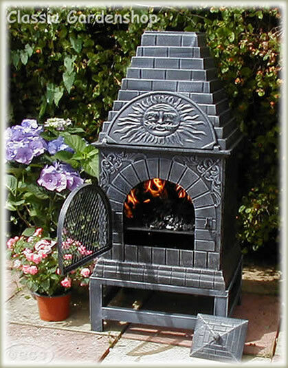 Castmaster Four A Pizza Oven Xl Cast Iron Chiminea Patio Heater With Cover Ebay