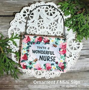 DECO-Mini-Sign-WONDERFUL-NURSE-HOSPITAL-Home-care-Lvn-RN-nursing-Wood-Ornament