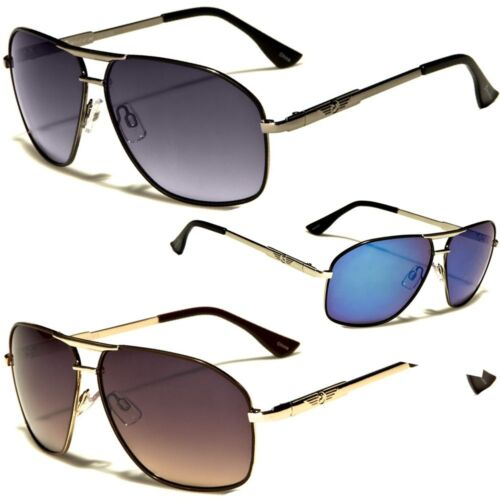 Classic Retro Fashion Metal Aviator/'s Vintage Designer Sunglasses Black Gold Whi