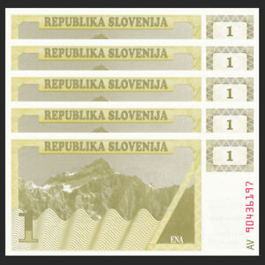 Slovenia 1 Tolar Lot 5 PCS 1990 UNC P-1