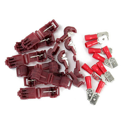 20pcs Red Solderless Female Quick Splice Wire Connector & Male Spade Terminals
