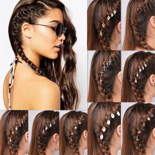 5//10Pcs Punk Women Hip Hop Braid Hand Shell Star Ring Hair Clips Accessory