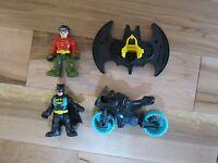 Imaginext Super Friends Batcave Batman Blue Batcycle Replacement Robin Jet Pack