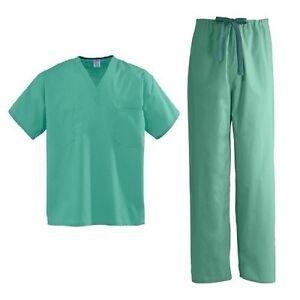 Medline-DOCTOR-NURSE-SCRUBS-Unisex-JADE-GREEN-Top-amp-Pants-Set-SIZE-S