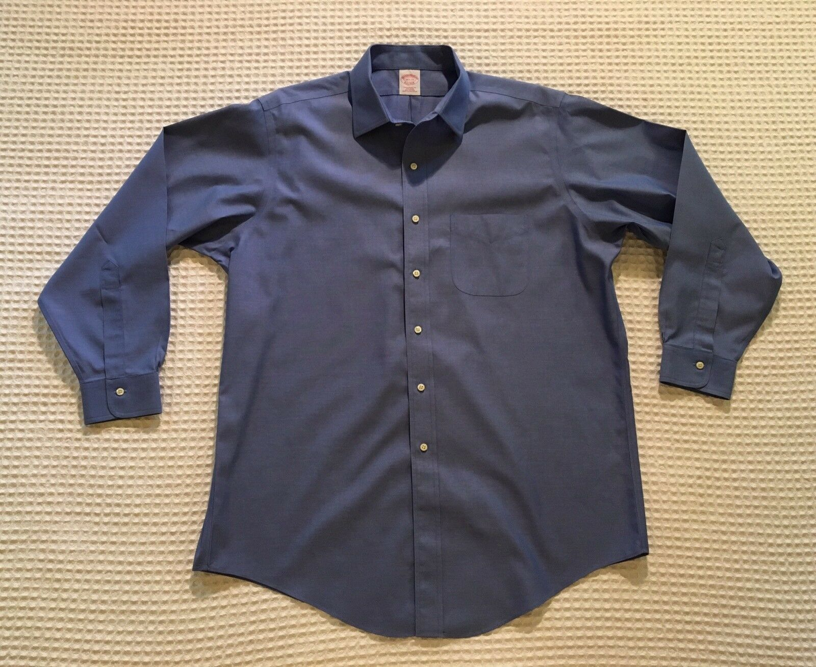 BROOKS BredHERS Traditional Fit Non-Iron Button Down Dress Shirt 16.5 33 Fr bluee