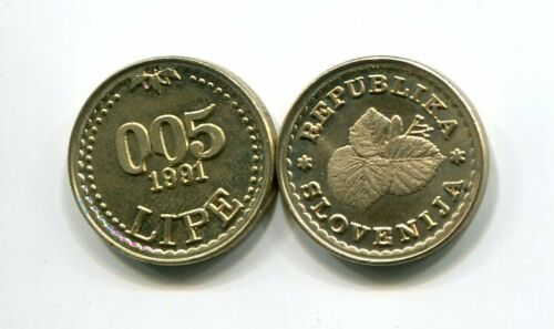 SLOVENIA 0.05 LIPE 1991 COIN UNC