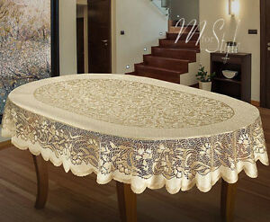 Image Is Loading Oval Tablecloth Heavy Lace Golden Beige Large Premium