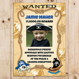 wanted pirate poster template - personalised pirate birthday party wanted photo poster