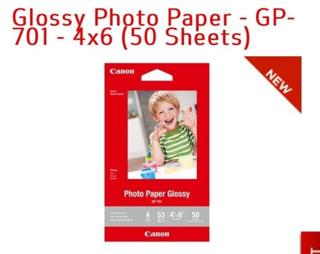 "NEW CANON Glossy Photo Papers 50 Sheets GP-701 Ink Jet Printer Pix Paper 4/""x 6/"""