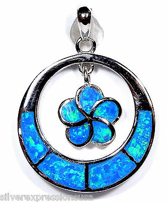 Quality Blue Fire Opal Inlay Genuine 925 Sterling Silver Plumeria Flower Pendant