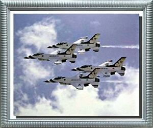Military-Flying-Thunderbird-Jets-Airplane-Aviation-Wall-Decor-Art-Framed-Picture
