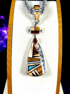 TSF-DINE-CALVIN-BEGAY-amp-L-L-STERLING-TIGER-EYE-OPAL-STONE-STAINED-GLASS-PENDANT