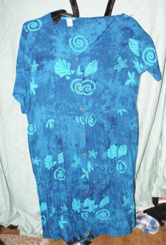 BLUE HAWAIIAN DESIGN SHELLS  FISH  RAYON  DRESS  P