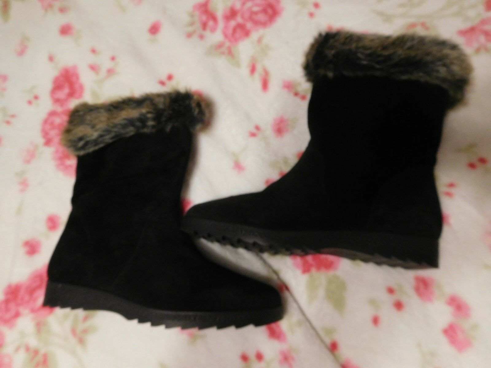 Caprice Walking on Air Black Waterproof Suede Leather Boots Size 5 7.5